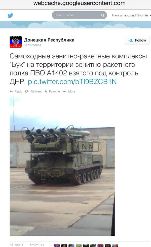"A deleted tweet from the the separatist ""Donestk Peoples' Republic"" claiming to have captured a Ukrainian Buk missile system."